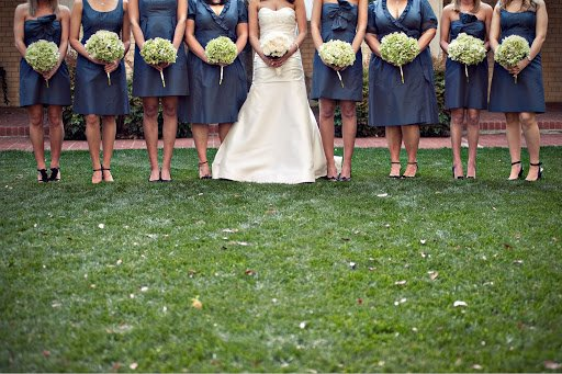 Bridesmaids wearing blue