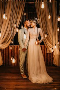 Bride and Groom photoshoot with lights