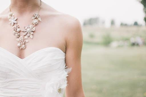 Wedding dress with necklace